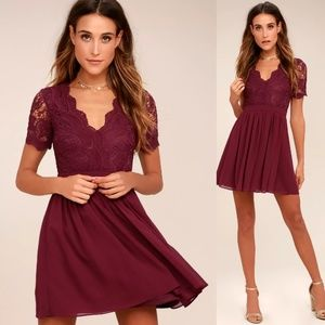 💮Angel in Disguise Lace LuLus Skater Dress S